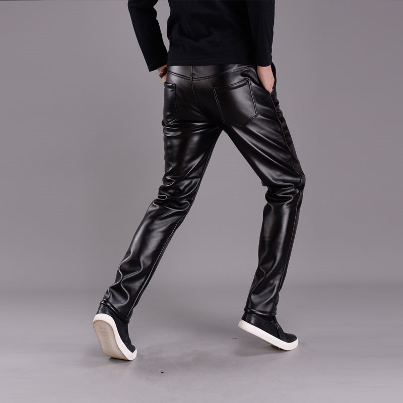 Spring Summer Men Leather Pants Elastic High Waist Lightweight Casual PU Leather Trousers Thin Causal Trousers 2