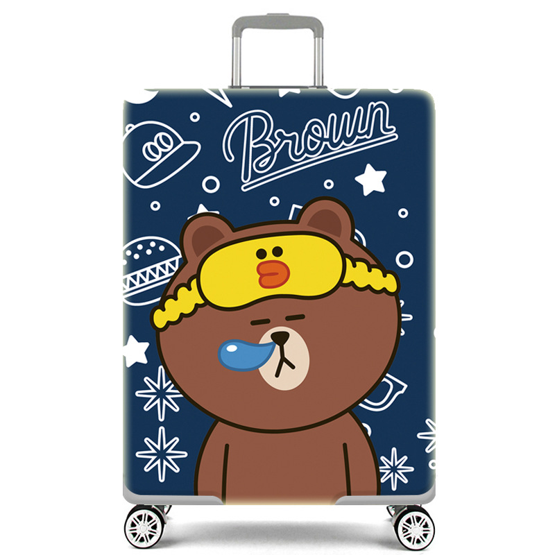 Thicker Travel Luggage Cover Sleeping Bear Suitcase Protective Cover For Trunk Case Apply To 18''-32'' Suitcase Cover Elastic