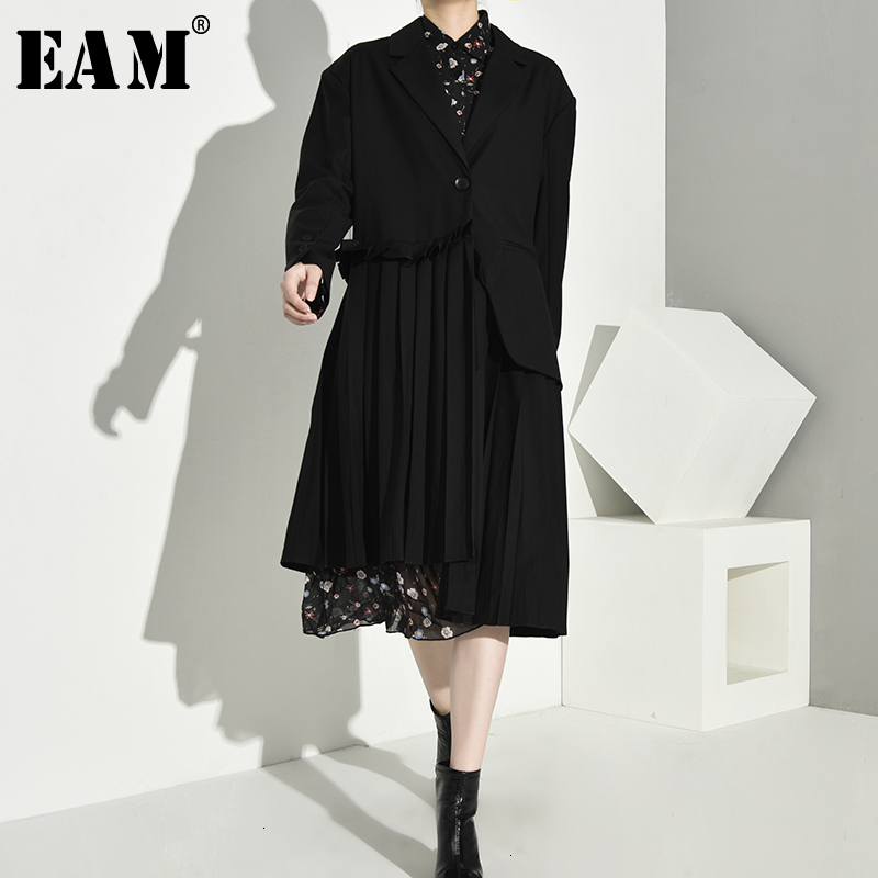 [EAM] Women Splice Pleated Asymmetric Long Trench New Lapel Long Sleeve Loose Fit Windbreaker Fashion Spring Autumn 2020 1A8800