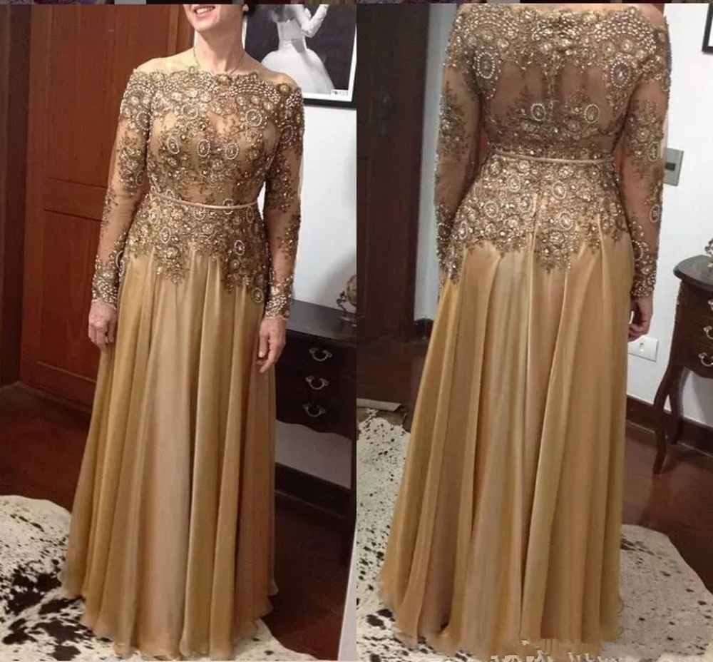 Elegant Lace Bead Mother Of The Bride Dresses Plus Size Chiffon Floor-length Zipper Back Mother's Dresses Formal Evening Gown