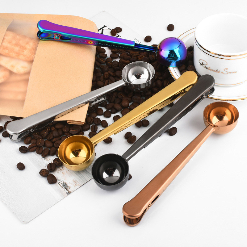Color Rose Gold Clip Coffee Stainless Steel Tea Scoop With Clip Measuring Scoop Sealing Powder Drinkware Tools Office Supplies
