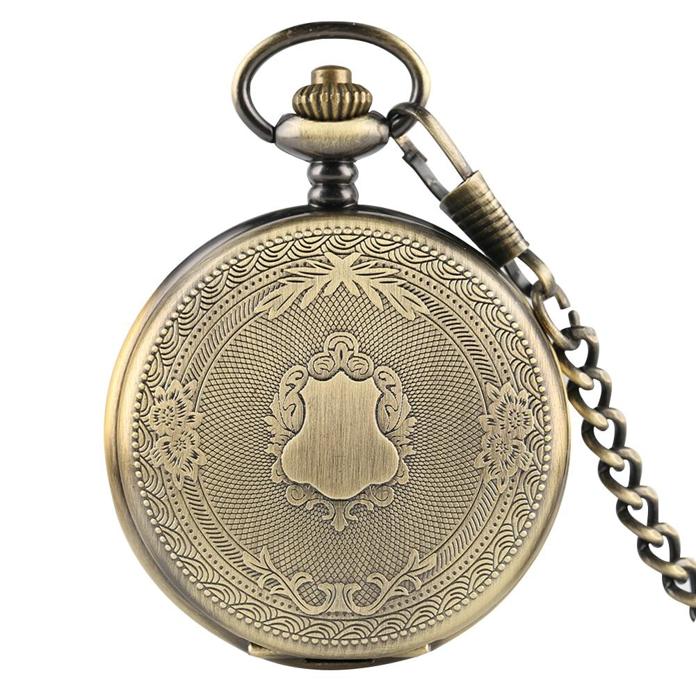 Classic Bronze Case Pocket Watch Men Clock White Roman Numerals Dial With Rough Chain Quartz Pendant Accessory Montre De Poche