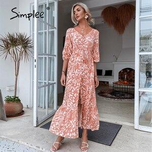 Simplee w stylu Casual, z nadrukami wiosna kobiety Maxi sukienka wysokiej talii dekolt sznurowane plaża Vestidos moda luźna zapinana na guziki sukienka trapezowa 2021