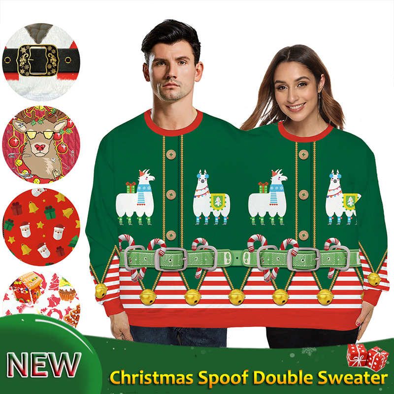New Christmas Festival Outfits Hot Double Sweater Loose Cartoon 3D Digital Printing Couple Pullover BODYSUIT Party Gift VDB1170