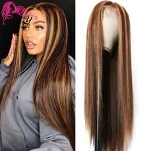 Beauty Forever-peluca con malla frontal y hueso 13x4, pelucas de cabello humano liso 99J degradado rubio miel marrón peluca con malla frontal