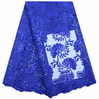 2020 Blue High Quality Lace African Milk Silk Lace Fabric With Sequins 5 Yards For Nigerian Party Dress French Lace Fabric 1814