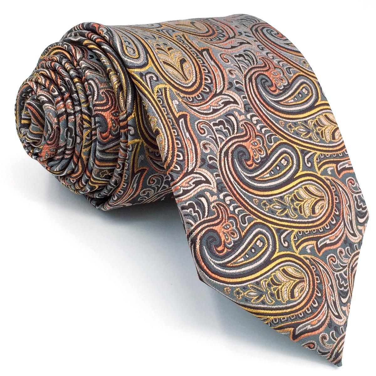 *BRAND NEW* MULTI-COLOR PAISLEY COTTON BROWN MENS BOW TIE/&POCKET SQUARE SET B879