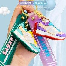 Mini bonito tênis chaveiro de borracha sillicone sapatos carro chaveiro saco zíper decoração encantos melhor presente para meninas