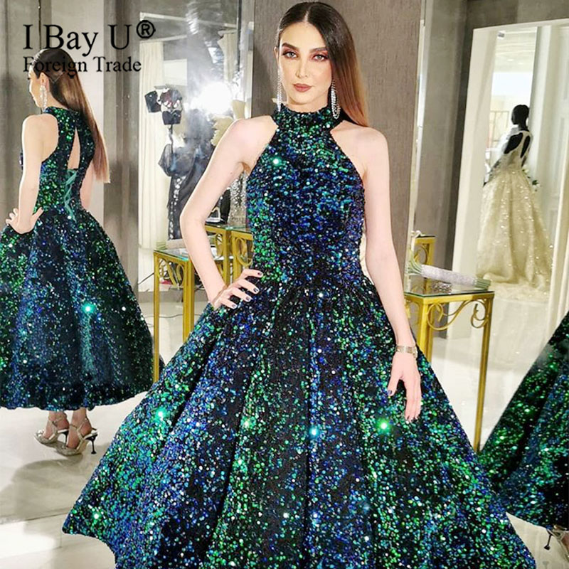 Sparkly Green Sequin Prom Dresses Ball Gown For Party Formal Evening Gown Dress Sleeveless