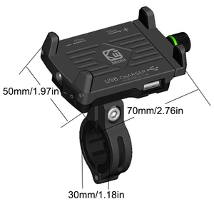 Image 2 - 1 Set 7x5x10cm Red/Black/Blue/Silver Metal Motorcycle Handlebar Phone Mount Holder with USB Charger for Smartphone