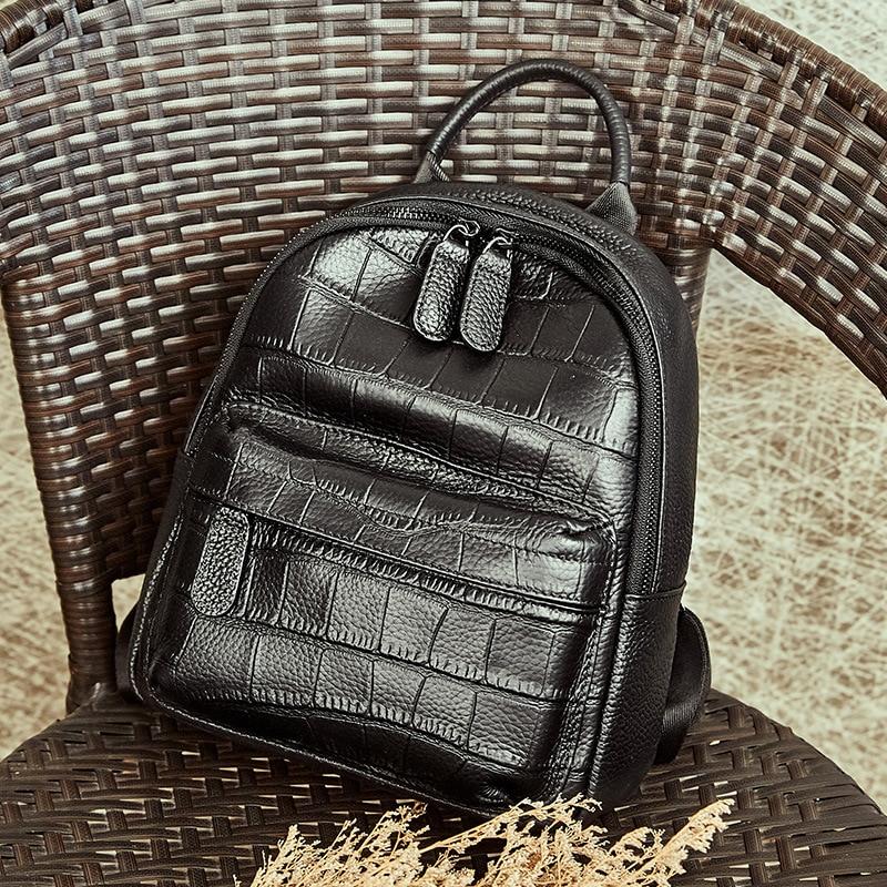 100% réel en cuir véritable femmes sacs à dos 2019 mode sac à dos pour filles Alligator imprimer dames sac à dos collège sac à dos école