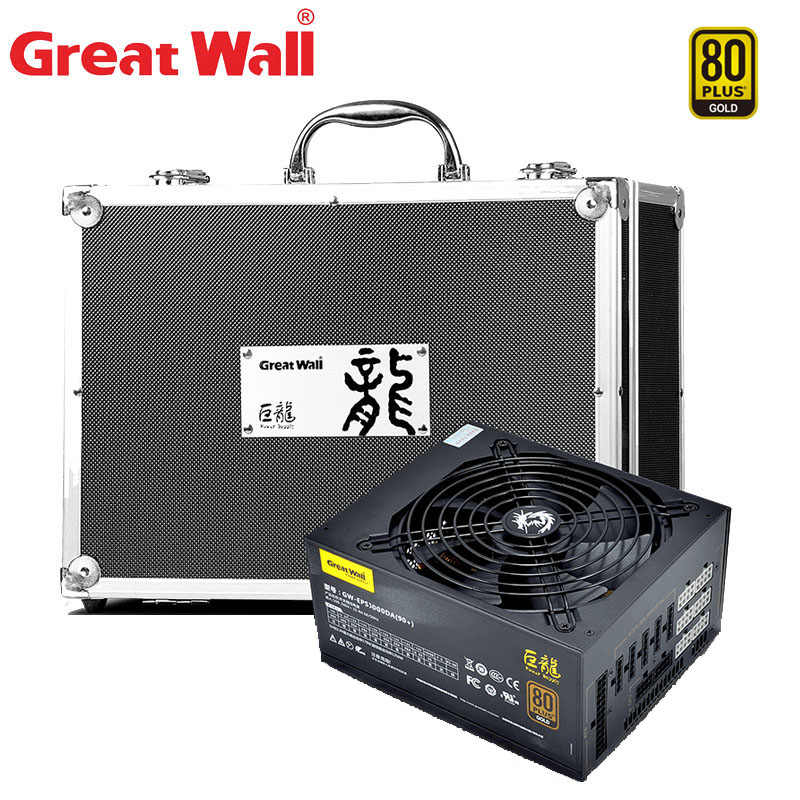 Grote Muur Voeding Pc 12V 1000W 80 Plus Goud E-Sport Psu Pc Voeding 140mm Fan Mute Atx Computer Voeding