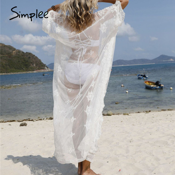 Simplee Embroidery white bikini cover-ups 2020 women swimwear beach wear Long tunics for swimsuit cover up Sarong dress - discount item  40% OFF Swimwears