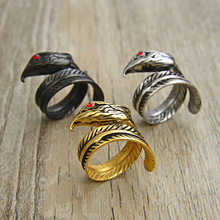 Valily Punk Biker Hawk Eagle Ring Mens Gold Silver Color Titanium Stainless Steel Rings for Men Jewelry Wholesale