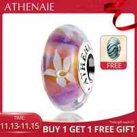 ATHENAIE véritable Murano verre 925 argent noyau jasmin fleurs breloque à perles Pandora bracelets à breloques et collier couleur violet