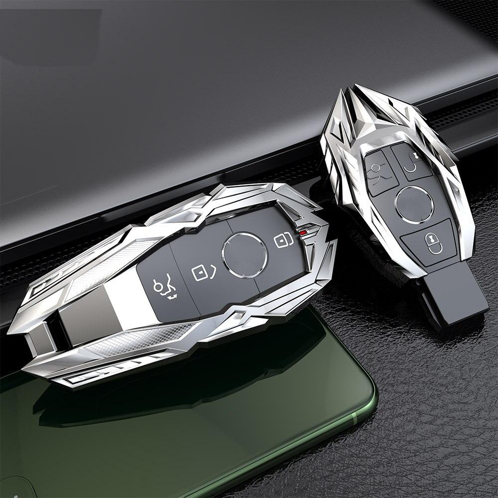 High-quality Metal Car Key Case Cover For Mercedes Benz W203 W210 W211 W124 W202 W204 W212 W176 AMG Accessories Keychain