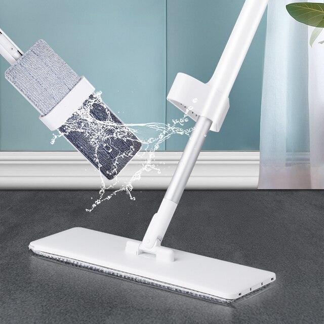 簡単な自己絞り出し怠惰なフリップフラットモップ360スピン再利用可能な交換ウェットドライモップ木製の床とキッチン