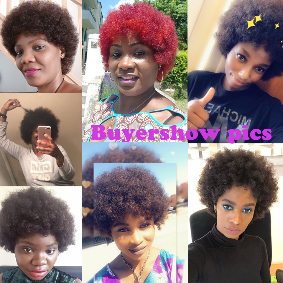 Debut-Short-Human-Hair-Wigs-Brazilian-Remy-Hair-Afro-Kinky-Curly-Black-Wigs-Red-Ombre-Short (2)
