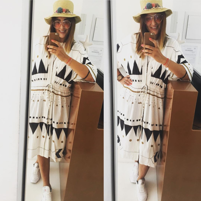 Hot Selling Europe And America Cotton Drawstring Slit Beach Skirt Loose-Fit Cardigan Holiday Skirt Sha Tan Yi Bikini Blouse
