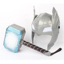 Marvel Os Vingadores Aliança Máscara de Luz DIODO EMISSOR de LUZ Brilhante E Soando Martelo de Thor Thor Figuras de Ação Cosplay Crianças Presente do Dia Das Bruxas