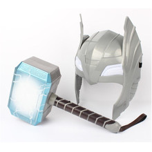 Marvel The Avengers Alliance LED Glowing And Sounding Thors Hammer Light Mask Thor Action Figures Cosplay Kids Halloween Gift