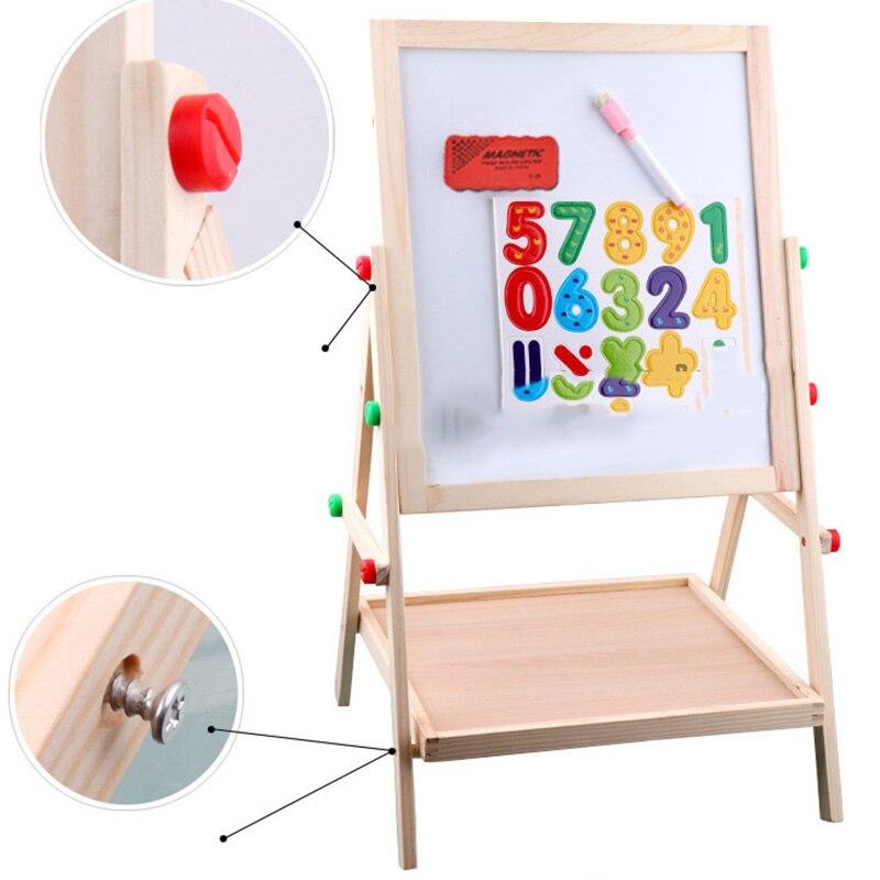 Enfants en bois levage double face magnétique planche à dessin chevalet croquis graffiti peinture cadre puzzle apprentissage tableau noir jouet - 5