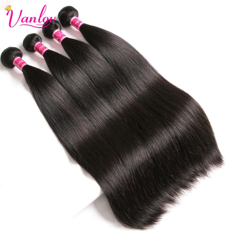 Vanlov Brazilian Straight Hair 4 Bundles With Closure Remy Human Hair Bundles With Closure Natural Color Brazilian Hair Wave Bundles (2)