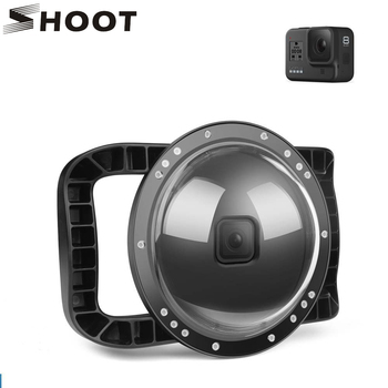 SHOOT for GoPro Hero 8 Diving Dome Port 45m Waterproof Housing Case Lens Cover with Dual Handle Trigger for Go Pro 8 Accessories shoot 6 dual handheld dome port waterproof diving housing case cover with trigger for dji osmo action camera lens accessories