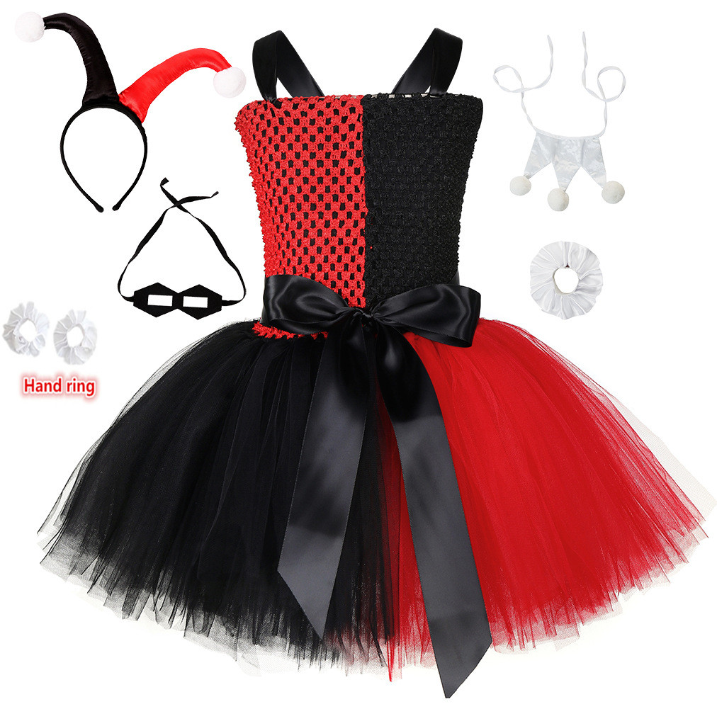 Harley Quinn Girls Tutu Dress+Headband+Mask+ Trousers Joker Fancy Children Carnival Party Clothing Halloween Costume For Kids