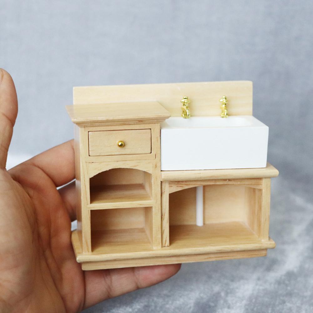 1:12 Scale Dollhouse Miniature Furniture Wooden Kitchen Stove Sink Cabinet Cupboard Set Mini Kitchen Accessory