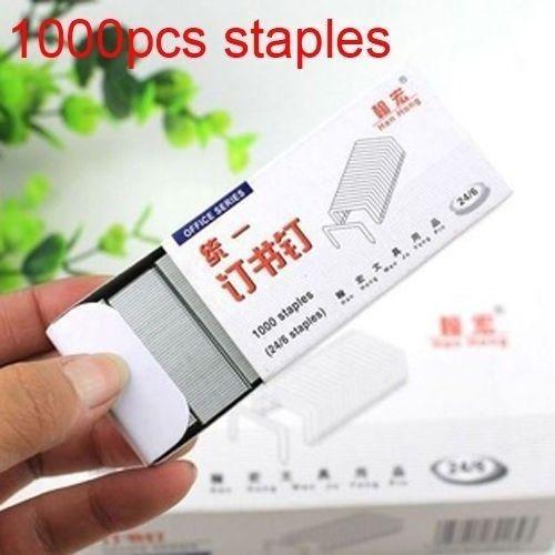 (Lote 1000 pçs) padrão de prata ponto grampos escritório metal venda quente dobra suprimentos frete grátis escola grampos 24/6