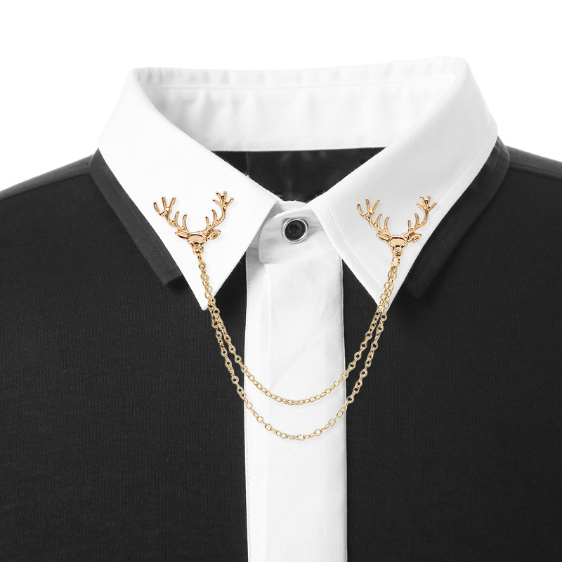 2019 Alloy Suit Shirt Small Deer Head Tassel Collar Needle High-end Christmas Animal Men And Women Clothing Accessories