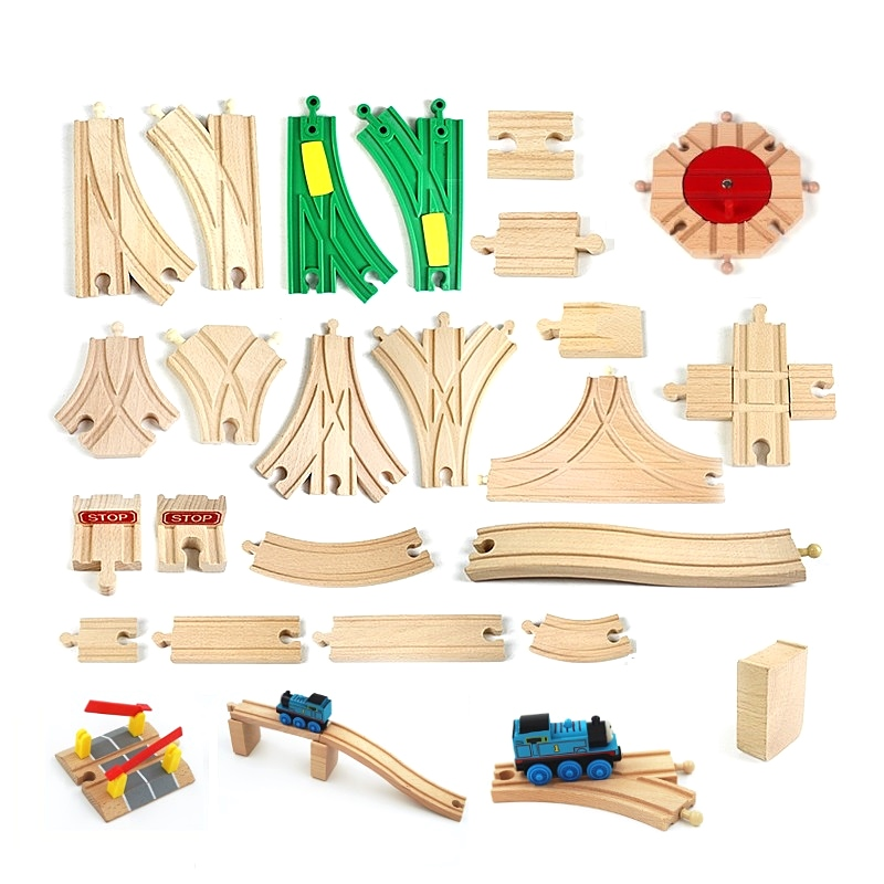 Car Wooden Track Railway Train Tracks Accessories Wooden Road Toy Accessories Work With All Major Brands Of Trains