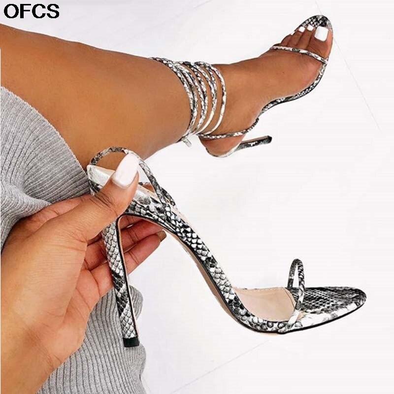 Summer Women Lace up Sandals Gladiator Serpentine high heels Ladies Sexy cross strappy stiletto sandals shoes