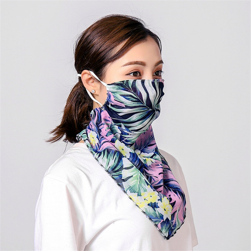 2020 Trendy Women Face Mask Floral Print Chiffon Mask Scarf UV Protection Outdoor Mouth Mask Women Neck Scarves Femme Foulard