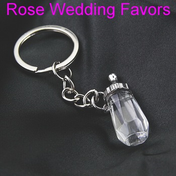 (20pcs/Lot)FREE SHIPPING+Baby Shower Favors Crystal Feeding-Bottle Keychain Crystal Nipple Birthday Party Giveaways Gift
