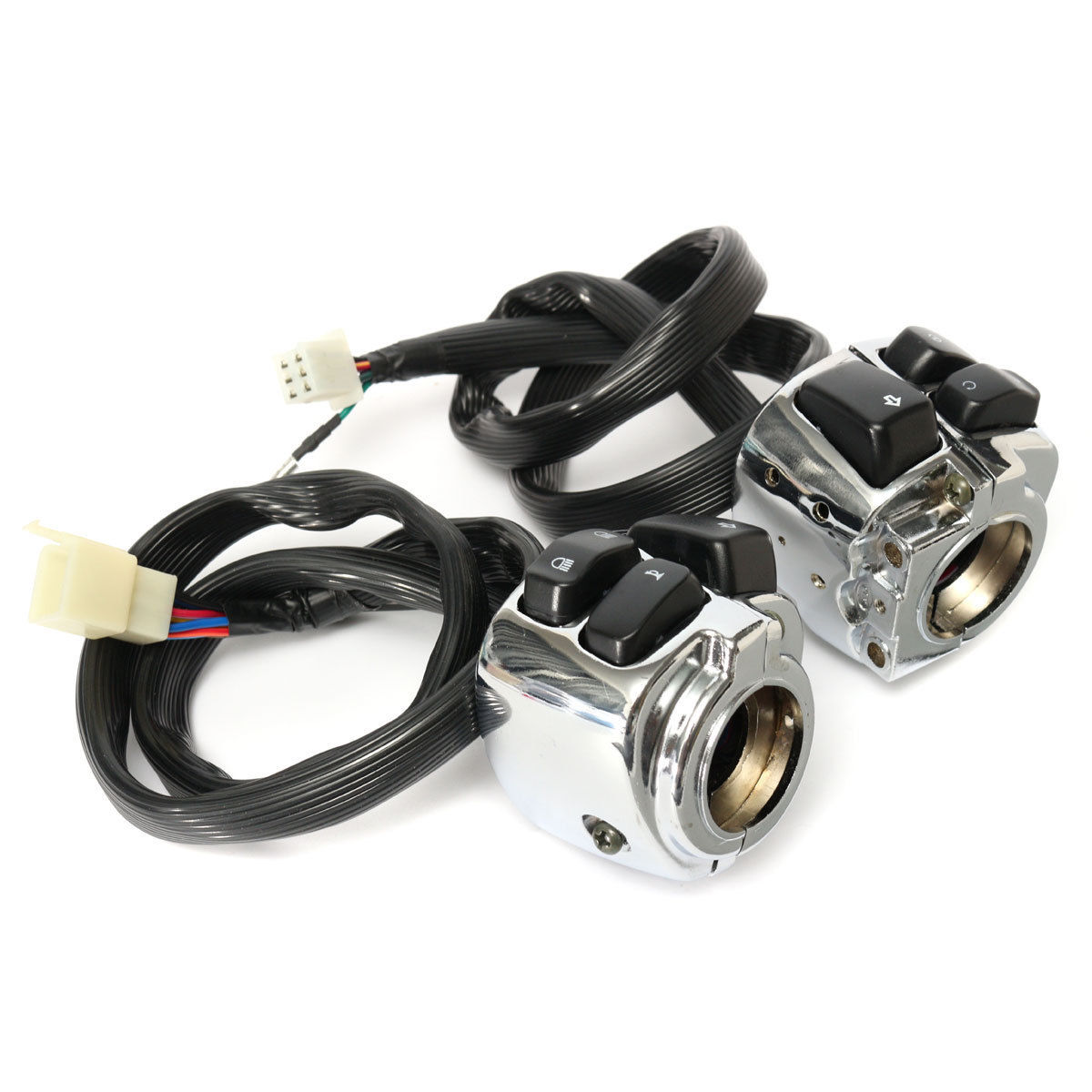 1 Pair 100percent brand new and high quality 25mm Motorcycle Chrome Handlebar Switches with Wiring Harness for Harley