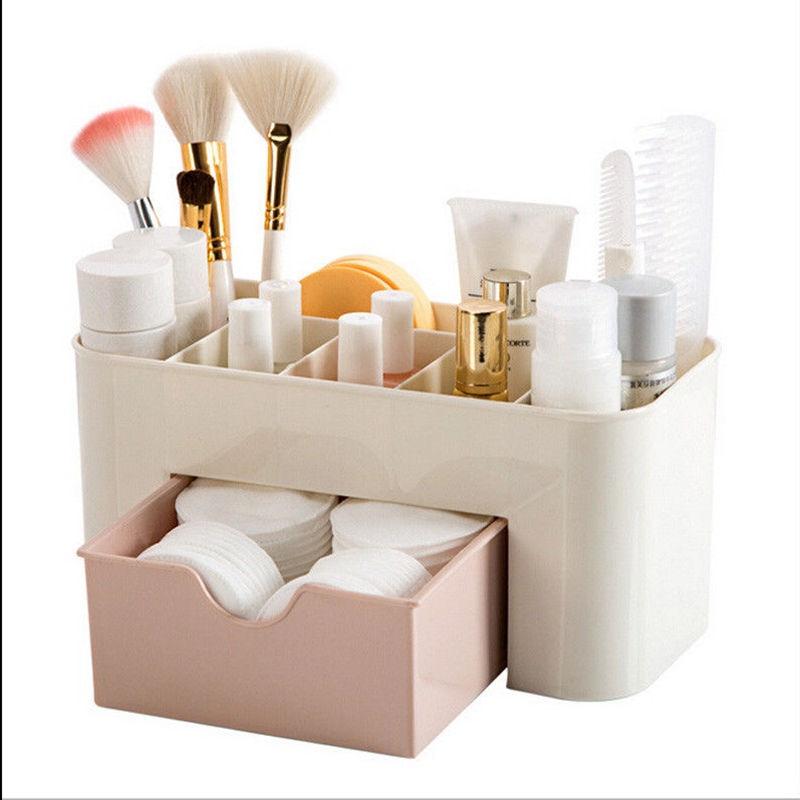 Makeup Organizer Plastic Cosmetics Box Large Makeup Holder Nail Polish Organizer Swabs Holder Bathroom Storage Box