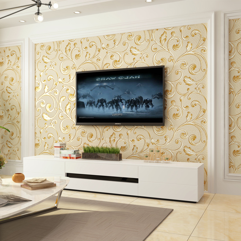 Simple European Style 3D Bump Stereo Relief Suede Wallpaper Bedroom Bedside Television Living Room Wall Wallpaper