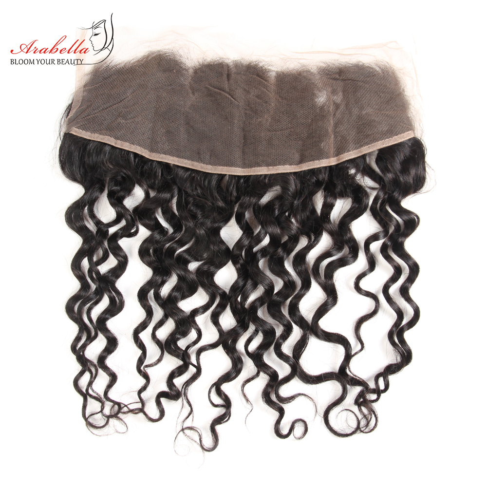 13x4 Water Wave Lace Frontal Ear To Ear Natural Color  Arabella Pre Plucked Bleached Knots Lace Frontal Closure 2