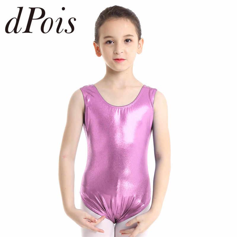 US Kids Girls Sleeveless Shiny Ballet Dance Gymnastics Leotard Jumpsuit Bodysuit
