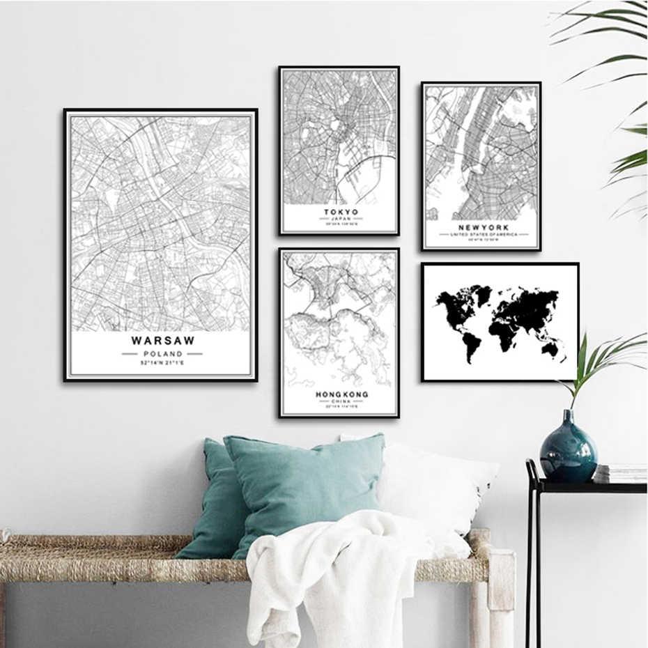 キャンバス絵画北欧スタイル SMinimalist 世界的に有名な市内地図抽象のポスターリビング壁アートピクチャーホームインテリア