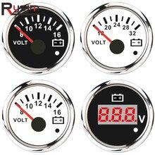 52mm Marine Voltmeter 8 16V/16 32V Volt Meter Gauge Car Voltage Gauges for Boat Car Truck Motorcycle RV Red Backlight 12V/24V