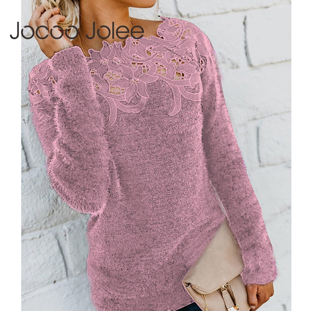 Jocoo Jolee Women Sexy Lace Hollow Out Slash Neck Sweater Casual Fleece Plush Pullovers Female Elegant Jumper Plus Size 5XL