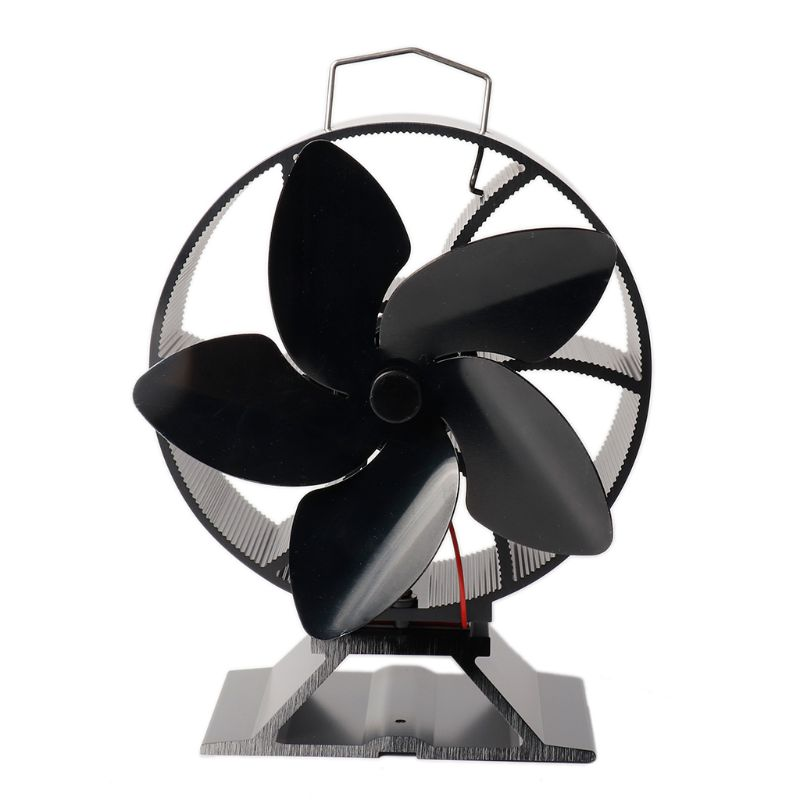 5 Blade Heat Powered Wood Stove Fan Anodized Aluminum Home Fireplace Fan Log Burner Fireplace Silent Quiet Eco Friendly Supply