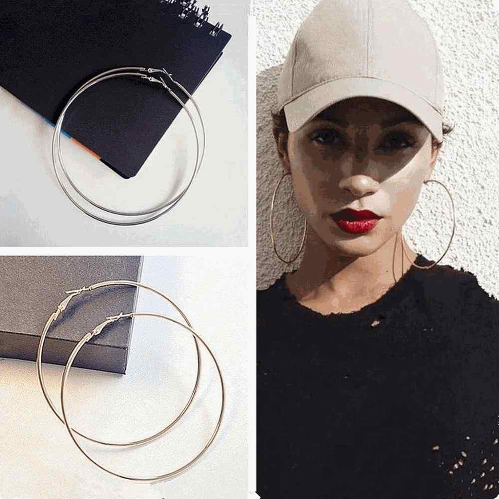 2019 Hot Sell Women Gold Hoop Earrings 6cm Metal Big Circle Smooth Large Round Ring Fashion Hoop Earrings