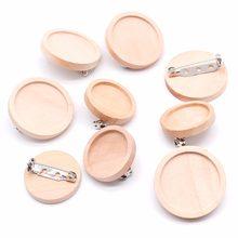 10pcs/lot Blank Wood Cabochon Brooch Base Settings 20 25 30 40mm Dia Round Bezel Tray Diy Brooches Pin Backs for Jewelry Making