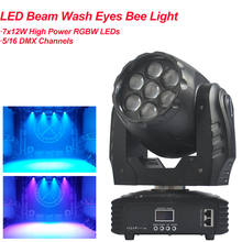 NEW 7x12W High Power RGBW 4IN1 LED Beam Wash Eyes Bee Moving Head Light DMX512 Sound 5/16 Channels Stage DJ Disco Party Lighting стоимость