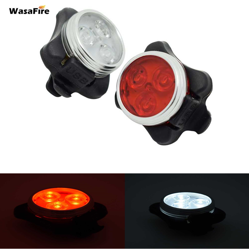 WasaFire USB <font><b>Rechargeable</b></font> <font><b>Bike</b></font> <font><b>Light</b></font> Bicycle Rear <font><b>Lights</b></font> Waterproof Taillight 3 LEDs Cycling Tail <font><b>Back</b></font> Lamps Safety Warning Lamp image