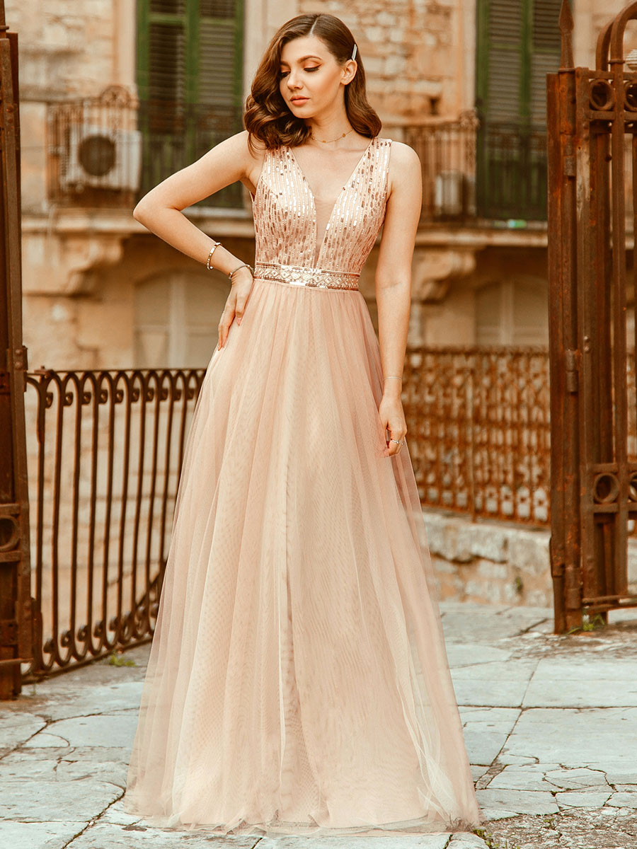 Party-Gowns Evening-Dresses Jurken Tulle Sequined Ever Pretty Sparkle Rose-Gold Lange